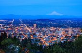 picture of highrises  - View of Portland Oregon USA at Night.
