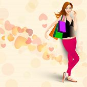 Young fashionable girl with shoping bags on hearts decorated background.