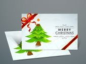 Beautiful Gift Cards for Happy New Year and Merry Christmas celebrations with green Xmas tree and r