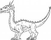vector - dragon without wings , isolated on background