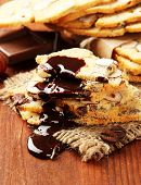 Biscotti with  nuts, on wooden background