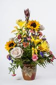 stock photo of get well soon  - Beautiful bouquet of Flowers with a card - JPG