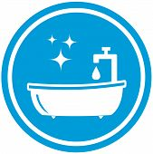 stock photo of spigot  - isolated blue bathroom icon  - JPG