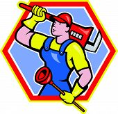 Plumber Holding Plunger Wrench Cartoon