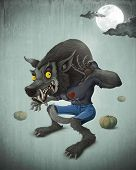 image of wolfman  - Wolfman and pumpkins under the moon for halloween creepy night - JPG