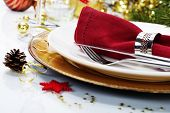 stock photo of christmas meal  - Christmas table place setting with christmas decorations - JPG