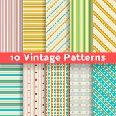 Different vintage stripe vector seamless patterns (tiling).