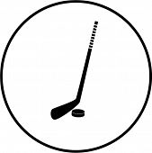 hockey stick and puck symbol