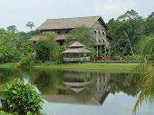 foto of longhouse  - a longhouse in the borneo cultural center - JPG