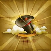 Magic cylinder hat, old style vector background