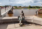 Novgorod, Russia - August 10: Monument To Tourist Girl On August 10, 2013 In Veliky Novgorod. Veliky