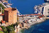 View Of Alanya Harbor Form Alanya Peninsula. Turkish Riviera