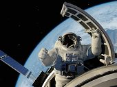 picture of spaceman  - Astronaut goes through the hatch into space - JPG