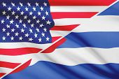 Series Of Ruffled Flags. Usa And Republic Of Cuba.