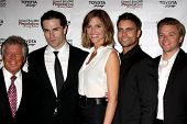 LOS ANGELES - APR 11:  Mario Andretti, Sam Witwer, Tricia Helfer, Colin Egglesfield, Brett Davern at