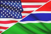 Series Of Ruffled Flags. Usa And Republic Of The Gambia.