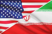 Series Of Ruffled Flags. Usa And Islamic Republic Of Iran.