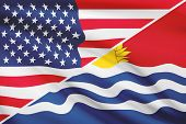 Series Of Ruffled Flags. Usa And Independent And Sovereign Republic Of Kiribati.