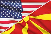 Series Of Ruffled Flags. Usa And Republic Of Macedonia.