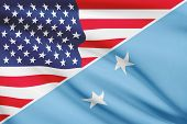 Series Of Ruffled Flags. Usa And Federated States Of Micronesia.