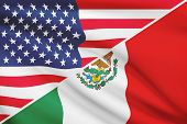 Series Of Ruffled Flags. Usa And United Mexican States.