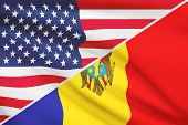Series Of Ruffled Flags. Usa And Republic Of Moldova.