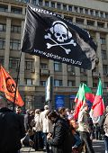 MOSCOW - APRIL 13, 2014: Opposition meeting in protection of freedom of mass media