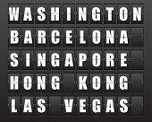 Flight destination, information display board named world cities Washington, Barcelona, Singapore, Hong Kong, Las Vegas. Scoreboard airport. Illustration. Vector.