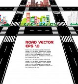 Vector Illustration of road and city