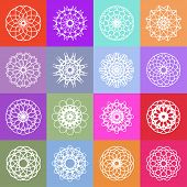 stock photo of mehendi  - Color ornamental background with squares - JPG