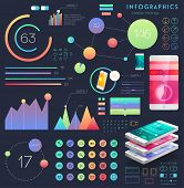 Set of User Interface Elements. Technology Flat Design Style. Mobile Phone Template. Infographic Elements. Thin Line Icons Collection. Blurred Background.