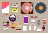 Set of Flat Design Icons. Vintage and Music Gadgets Icons Set. Mobile Phones, Turntable, Headphones, Business Cards, Microphone. Concept Icons for Web Site Design. Digital Art and Retro Gadgets.