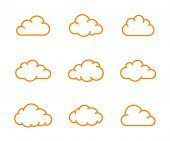 Cloud shapes collection. Cloud icons for cloud computing app. Vector illustration