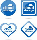 Cloud Storage - Cloud Computing Icon Stickers Set Isolated On White