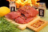 Fresh Beef Steaks And Spice Near Bbq Grill, Xxxl