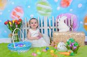 Beautiful Toddler Girl In Easter Scene