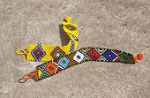 foto of zulu  - two brigh colored beaded zulu wrist bracelets - JPG