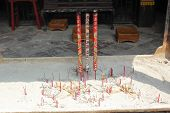 View With Chinese Candles In  Lin Fung Temple (temple Of Lotus) In Macau