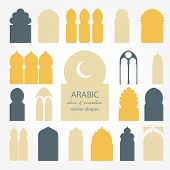 Arabic door and window vector silhouette
