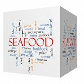 Seafood 3D Cube Word Cloud Concept