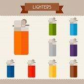 Lighters colored templates for your design in flat style.