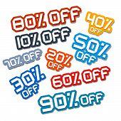 Colorful Vector Paper Cut Discount Stickers, Labels Set