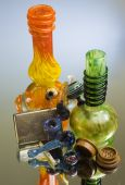 stock photo of bong  - Various pipes and bongs and other smoking abuse tools - JPG
