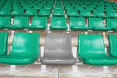 Grey Stadium Seat Between Green Seats