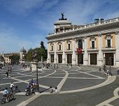 Tourists Stroll To Capitoline On April 06, 2014 In Rome, Italy. Capitol Hill -