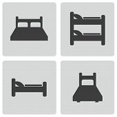 24Vector black bed icons set