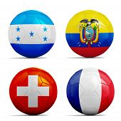 Soccer Balls With Group E Teams Flags, Football Brazil 2014.