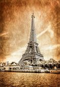 View Of Eiffel Tower In Vintage Filtered And Textured Style