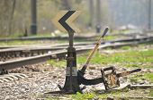 picture of railroad-sign  - Railroad tracks. Old railroad switch in the foreground