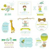 Set of Baby Shower and Arrival Cards - for design and scrapbook - in vector